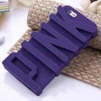 3d casos para móviles al por mayor-Funda de silicona suave de la letra PINK al por mayor-moda 3D para 5 5s / 6 6S 4.7