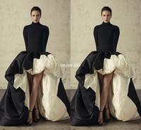 robes de soirée en taffetas noir achat en gros de-Robes de soirée africaines hautes et basses à manches longues 2019 col haut Robes de bal noir et ivoire à volants Taffetas Robe de soirée officielle Robe de bal