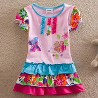 Wholesale Girl Neat Dress - NEAT New baby girl clothes college style girls dresses embroidered wave points stripe bow kids clothes short sleeve dress S66306