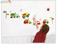 Wholesale Baby Boy Nursery Wall Decor - 100pcs cartoon car wall sticker baby room decor boys room decal home decorations art ZY7012. kids room wall decal mural accessories 4.5