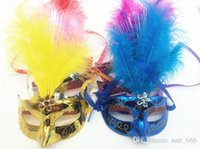 Wholesale purple feathers for hair online - Colorful eye catching female mask feather masks Ch luminous butterfly mask hair mask crown princess mask dance mask Halloween Mask