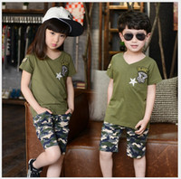 Wholesale Camouflage Sleeves T Shirts Children - 2016 Boys Girls Summer Camp Camouflage Clothing Sets Children Short Sleeve T-shirt+Shorts 2pcs Set Kids Camouflage Suit Boy Girl Outfits