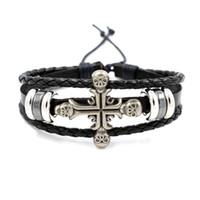 Wholesale Rock Wristbands - Gothic Rock Scene Accessories Personalized Leather Bracelet Cross Skull Bangle Personality Wristband Infinity Bracelet for Men Fashion