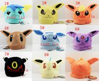 Wholesale Adult Comics Wholesale - Mixed 8design Poke plush Hat Pokémon Pocket plush caps for kids  Adult