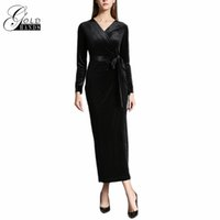 Wholesale Long Dress Vneck - Women Evening Dresses Long Slim Ever Pretty Lady Elegant velvet Vneck Long Full Sleeve Empire Evening Dresses Formal With Belt