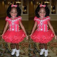 küçük kızlar için siyah elbiseler toptan satış-2016 Moda Siyah Kız Pageant Önlük Cap Sleeve Boncuk Kristaller Pageant Abiye Kız Tül Little Girls Kırmızı Çocuk Balo Elbiseleri için