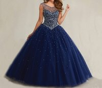 taille des robes de bal achat en gros de-Robes de bal de taille Masquerade Bal Robes Puffy Sweet 16 Navy Blue Quinceanera 2017 Pearls Cap Sleeves Cristaux de luxe brillants HY1562