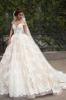 Ball Gown original bridal gowns - Off The Shoulder Deep V neck Original Lace Applique White And Champagne Sexy Wedding Dress Ball Gown vestidos longos Bridal Gown