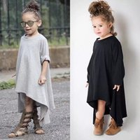 Wholesale Dreses Kids - Spring Autumn Europe Fashion Baby Girls Dress Kids Long Sleeve Irregular Tops Dress Children Casual Cotton Dreses Black Gray 12536