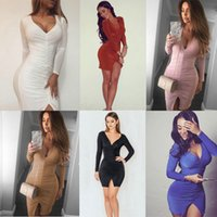 Wholesale european sexy new women clothes - New Arrival Autumn European and American fashion deep V-neck sexy nightclub elegant ladies folding dress factory price hight quality clothes