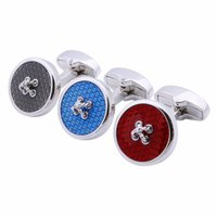 Wholesale Tie Sets China - Popular Trendy Round China Fashion Knot Design Enamel Everlasting Copper Rhodium Plated Men Jewelry Cuff links