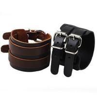 Wholesale Leather Wrist Cuff Rings - Punk Double Buckle Real leather BANGLE BRACELET Vintage cuff vogue unisex Bangles wrist Bracelets Make You Attractive ornaments!