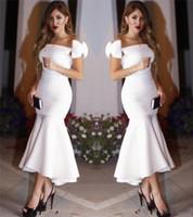 çay yay toptan satış-Omuz Üzerinde yay Ile beyaz Kısa Mermaid Parti Elbiseler 2017 Bateau Kılıf Çay Boyu Gelinlik Modelleri Akşam Resmi Elbiseler Ucuz