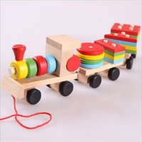 Wholesale 3d Puzzle Wood - Wholesale-Montessori Toys Wooden Stacking Shape Geometry Blocks Train Diecasts Vehicle Set Combination Educational Toys Kids