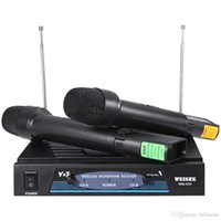 vhf mic al por mayor-WEISRE Professional 220 - Radio Karaoke de 270 MHz Micrófono inalámbrico de mano con transmisor VHF con 2 Micrófonos 1 Receptor KTV Hot + NB