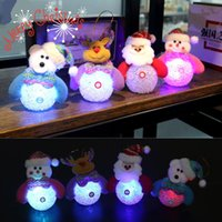 Wholesale Mini Table Lamps Wholesale - Christmas Snowman Lamp Light Xmas Gift Mini Table Cute Santa Claus LED Fiber Optic Nightlight Christmas Tree Decor For Home 2017