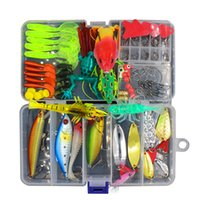 Wholesale fishing lure kits - 147Pcs Set Fishing Lure Kit All Water Mixed Soft Lure Frog Lure Spoon Bait Fishing Tackle Accessories In Storage Box Fu