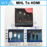 Wholesale Mhl Hdmi 2m - 2M 6ft 11pin Micro USB MHL to HDMI Cable HDTV Adapter 1080P for Samsung Galaxy S6 S5 S4 S3 Note2 Note3 Free DHL