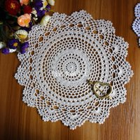 Wholesale Lace Doilies Fabric - Wholesale- 2016 new arrival 100% natural cotton crochet lace doily with cutout flower for home decor fabric tableware kitchen accessories