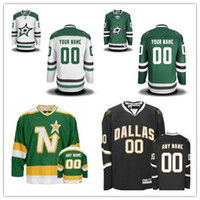 Personaliza Dallas Stars Custom Hombres Mujeres jóvenes Hockey sobre hielo Jerseys Customized Home Green Visitante Blanco Negro Verde Vintage Retroceso S, 4XL