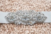 Wholesale Cheap Beaded Bridal Sashes - Fashionable Bridal Sashes and Belts Wedding Dress Sash for Wedding Beaded Rhinestone Crystal Wedding Belt Cheap