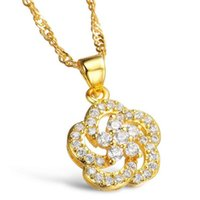 Wholesale Gold Pendant Sets Price - Fashion Trendy 18K Real Gold Plated Women Jewelry Set Luxury Austria White Crystal Wedding Necklaces  Earrings Low Price 628