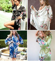 Wholesale Womens Black Silk Sleepwear - womens Solid royan silk Robe Ladies Satin Pajama Lingerie Sleepwear Kimono Bath Gown pjs Nightgown 17 colors#3698