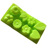 Wholesale Silicone Cake Floral Moulds - 8-Cavity Floral Leaf Silicone Cake Chocolate Soap Decoration Mold DIY Candy Mold Random Color Free Shipping