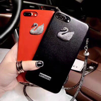Wholesale iphone swan - Soft Silicone Case for iphone 8 plus Cover with Crystal Straps Fashion Girl Diamond Swan Big V Phone Case for iphone X 7plus