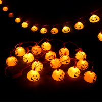 Wholesale Wholesale Curtain Holders - Halloween Decoration Party Prop Pumpkin Led String Light 16 Lamp Holder Bar Decoration Fairy lights Christmas Festival Lamp strip
