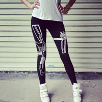 Wholesale Wholesale Running Machines - Wholesale-Machine Gun Work Out Print pants Pencil Fit Running leggings Pants Workout Work Out and Just Do It gym Print Sports Leggings