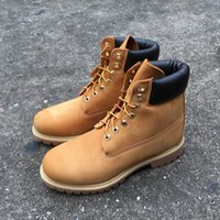 Wholesale best sewing - Best Premium Winter Boot Men Women Leather Ankle Boot Basic Contrast Collar Waterproof Boot 6 color