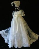 Wholesale Ivory Christening Dresses Bonnet - Free Bonnet Elegant 2016 Hot Salling Infant Christening Baptism Dress Gown White Ivory With Bonnet Custom