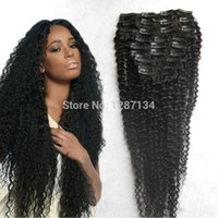 Gros-Cheap Wholesale Afro Kinky Curly clip en 9pcs Human Remy Extension de cheveux / set complet Head Sexy Afro Curl Virgin Brazilian Hair
