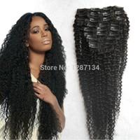 afro kinky curl saç uzantıları toptan satış-İnsan Remy Saç Uzatma 9pcs / set Tam Baş Seksi Afro Curl Virgin Brezilyalı Saç Toptan-Toptan Ucuz Afro Kinky Kıvırcık Klip