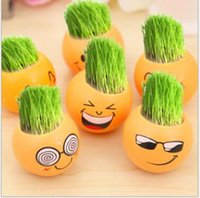 Wholesale Expressions Hair - Wholesale Retail Gift Face Expression Hair Man Plant Bonsai Grass Pots Doll Office Mini Plants Fantastic Desktop Garden Supplies Party Gifts