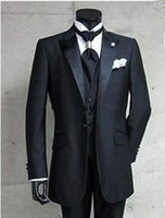 Vogue One Button Black Groom Tuxedos Groomsman Peak Satin Ripiano Migliore Uomo Uomo Uomini Vestito Vestito Sposo Real Photo Dress (Giacca + Pantaloni + Cravatta + Vest