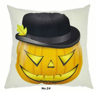 """Wholesale Halloween Pumkin - Happy Halloween Decoration Pillow Case Pumkin Smile Cats cushion cover Linen throw pillowcase 18"""" for home decor party gift 10pcs lot"""