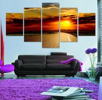 peintures zen achat en gros de-Unstetched 5 Pieces Le Soleil Rouge Impressions Sur Toile Photo À La Photo Imprime Sur Toile Pour La Maison Décorations