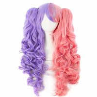 Wholesale Pink Ponytail Wig Long - WoodFestival double ponytail clip wig wavy long wigs for woman heat resistant fiber wig purple pink white black synthetic hair three sets