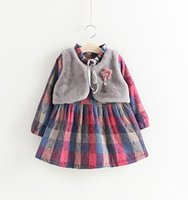 Wholesale Boutique 4t Girl - Girls Checker Dresses Fur Waistcoats Fake Two Piece 2017 Winter Kids Boutique Clothes 2-7Y Girls Long Sleeves Dresses High Quality