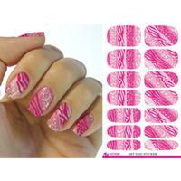 Wholesale Leopard Nail Foil - Water Transfer Nail Art Sticker Pink Leopard Glitter Manicure Decal Minx Fashion Nail Wraps Decor Tool Nails Foil Sticker
