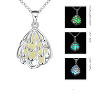 Wholesale Fluorescent Chain Necklace - Fashion Glowing Necklace Female Hollow Wing Shell Fluorescent Pendant Long Sweater Chains Jewelry Accessories Romantic Valentine's Day Gift