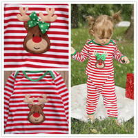 Wholesale girls leopard print jumpsuit - Striped Christmas Family Pajamas Set deer printed sets Kids fashion rompers baby girls boys Nightwear Cotton jumpsuit green red outfits