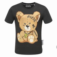 Wholesale Crystal Ss18 - SS18 New Fashion Brand Mens Short Fit Slim Casual TSHIRTS Print 3D Tiger Rhinestone desinger MENS Cotton T-shirts P17050-52