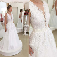Wholesale Custom Designed Fitted Caps - 2017 New Design Plunging Deep V Neck Lace Wedding Dresses Sexy Backless with Buttons Appliques Chiffon Long Bridal Gowns Pearls Fitted Sash