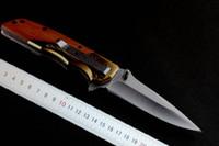 satin en bois achat en gros de-2016 Nouveau OEM Brown DA77 Ouverture Rapide Tactique couteau pliant Satin Blade Steel + manche en bois camping couteau couteaux avec papier de détail