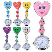 Wholesale Heart Pocket Watch Pendant - Popular Women's Cute Smiling Faces Heart Clip-On Pendant Nurse Fob Brooch Pocket Watch
