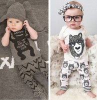 Wholesale Animal Print Pants For Kids - Baby Boy clothes little monsters bowtie bear Short Sleeve T-shirt Tops +Pants printed 2pcs Outfit Clothing Set lovely gift for kids