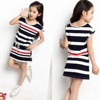 Wholesale Navy Stripe Dresses Girl - Girls Stripe Dress Summer Children Sleeve-less Dress Leisure Dress Children Navy Clothing 5 P L free shipping.